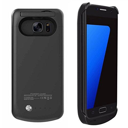 Preisvergleich Produktbild Mondpalast @ Schwarz 4200 mah Akkuhülle Batterie Hülle Case externe Batterie Akku Case Hülle Zusatzakku Power Pack Cover für Samsung Galaxy S7 s7 S VII G930F G930