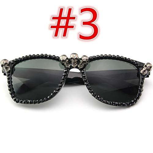 Schimer Women Black Heavy Metal Diamond Sunglasses Round Frame Sunglasses Cat's Eye Sunglasses Travel Glasses