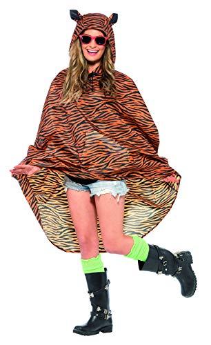 Smiffys 27610 Déguisement Adulte Poncho, Imprimé Tigre, Taille Unique