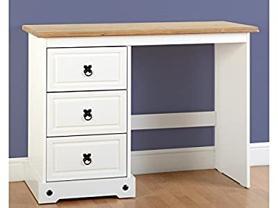 Seconique Corona 3 Drawer Dressing Table in White / Distressed Waxed Pine - cheap UK light store.