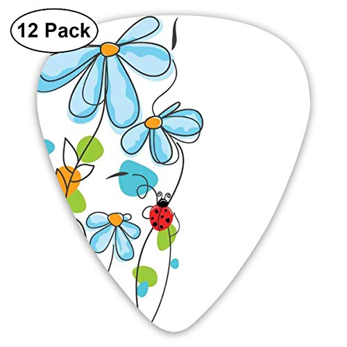 Celluloid Guitar Picks - 12 Pack,Abstract Art Colorful Designs,Flowers And Oval Dome-Shaped Ladybugs Illustration Never Ending Love Story Luck Symbol,For Bass Electric & Acoustic Guitars. Ice Dome