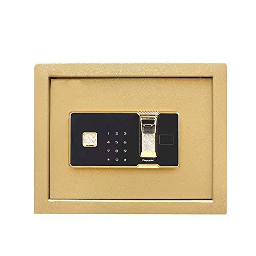 Abgesicherte Office 30cm hoch intelligenter Fingerabdruck-Safe Kleiner Fingerabdruck-Password Safe Startseite Vault-Safe (Farbe : Gold, Größe : 30x30x30cm)