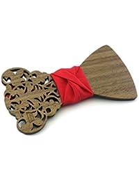 """GIGETTO Papillon in legno di palissandro, Limited Edition """"Barocco"""", con nodo in tessuto rosso, cinturino regolabile"""