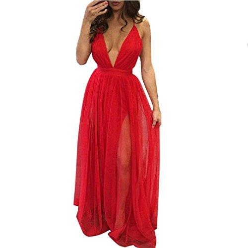 Elecenty Damen Chiffon Sommerkleid Partykleid,Kleider Ärmellos Tief V-Ausschnitt Solide Cocktailkleider Frauen Mode Strandkleid Kleid Abendkleider Brautjungfernkleid Kleidung (XL, Rot)