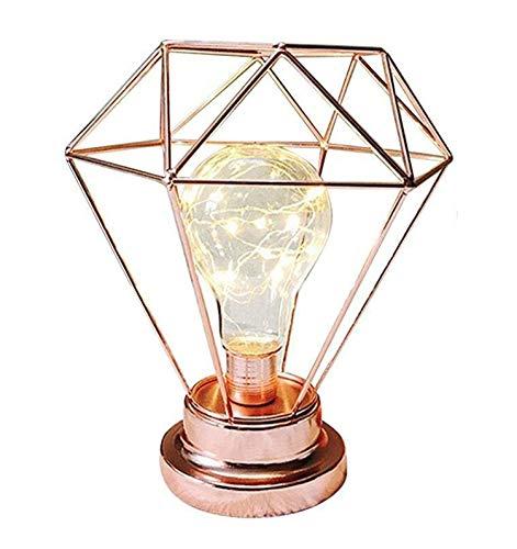 Metall Tischlampe,SUAVER Diamond Form Nachttischlampe Stehlampe,Batteriebetrieben Nordic Style Eisen Schreibtischlampe kreative Nachtlicht dekorative Beleuchtung für Schlafzimmer, Hotel (Roségold) -