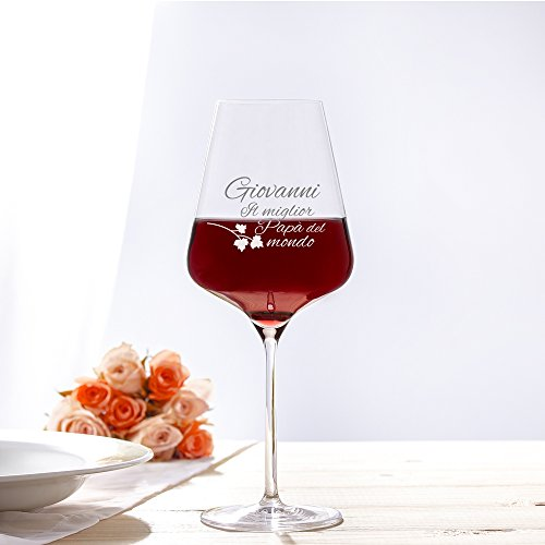 AMAVEL – Calice da Vino Rosso – Bicchiere da Vino in Vetro con Incisione – Il Miglior papà del Mondo – Personalizzabile con [Nome] – Idee Regalo per Lui – Festa del papà – Regali di Compleanno - 4