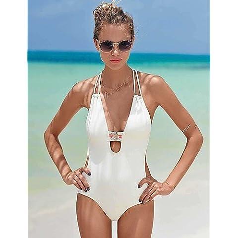 ZQ Due Pezzi-Nuoto / Spiaggia-Per donna-Traspirante / Asciugatura rapida / wicking / Compressione-Bianco / Nero , black-xl , black-xl