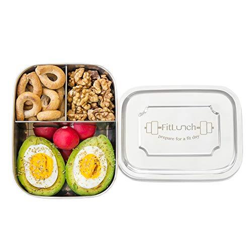 FitLunch Edelstahl Brot-Dose I Lunch-Box I PLASTIKFREI I BPA Frei I 1000ml I Spülmaschinen-Fest mit DREI Fächern und Trennwand