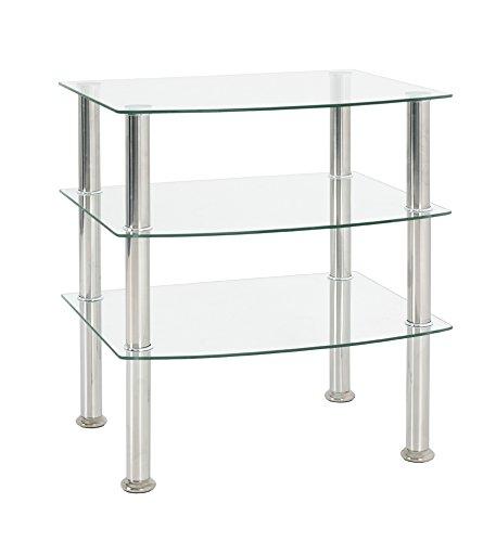 Haku-Möbel 15209 Beistelltisch, Edelstahl, Glas 5mm, Klarglas, 54 x 45 x 61