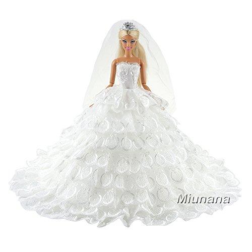 Miunana Hochzeitskleid Kleidung Brautkleid Abendkleid Spitze Prinzess Luxuriös mit Brautschleier...