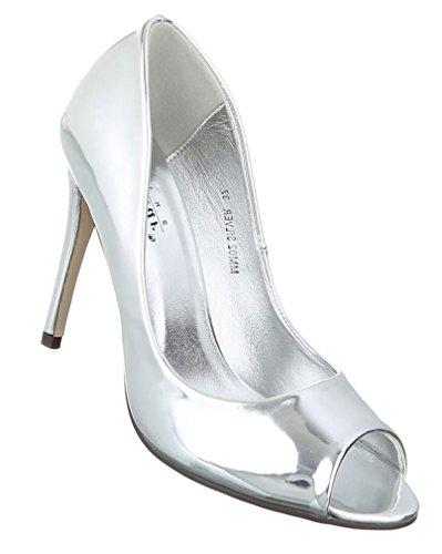 Damen Pumps Schuhe Elegant High Heels Peep Toe Silber 36