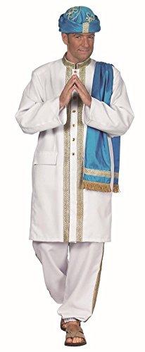 Maharadja in blau-weiß-gold für Herren | Gr. 50| 2-teiliges Sultan Kostüm | Maharadscha Faschingskostüm für Männer | Maharadscha Kostüm für Karneval