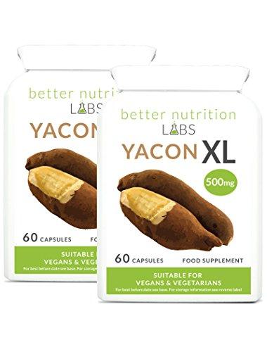 Yacon XL - Yacon Wurzel-Extrakt 2 Monatspackung - Yacon Sirup Alternative - Nahrungsergänzung - Fettverbrennung Diät-Pille von Better Nutrition Labs - 120 Kapseln