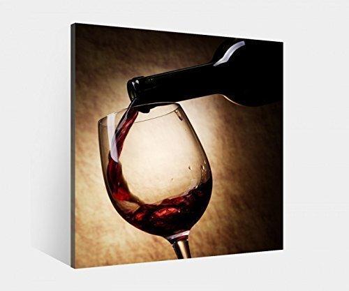 Leinwand Bild 1Tlg bis 100cm Wein Weinflasche Wandbild Glas Bilder Rotwein 9K918 Holz-fertig gerahmt-direkt von Hersteller, BxH Bild:30cmx30cm -