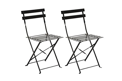 PEGANE Lot de 2 Chaises Pliantes Elsa Noir en acier, 42 x 47 x 81 cm