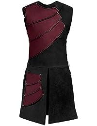 lancoszp Traje de Chalecos sin Mangas Medieval para Hombres Chaleco Victoriano Renacentista Rojo/Negro / Marron