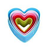 Allforhome 5 Piezas Forma de Corazón Cortador de Galletas Plastico Pastel Fondant Sugarcraft...
