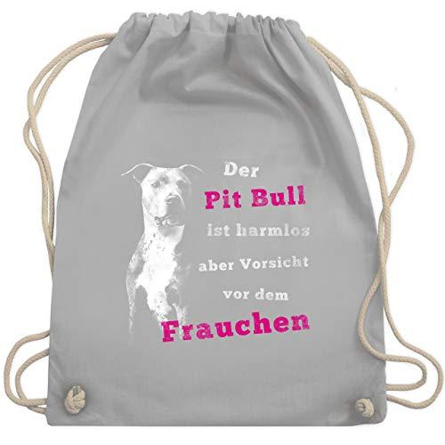 Hunde - Der Pit Bull ist harmlos aber Vorsicht vor dem Frauchen - Unisize - Hellgrau - WM110 - Turnbeutel & Gym Bag - Bull Pit Spielzeug