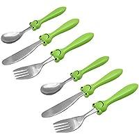 EXZACT in acciaio inox per bambini Posate 6 pezzi Set - 2 x forchetta, 2 x coltelli, 2 x Cucchiai Cena (Rana x