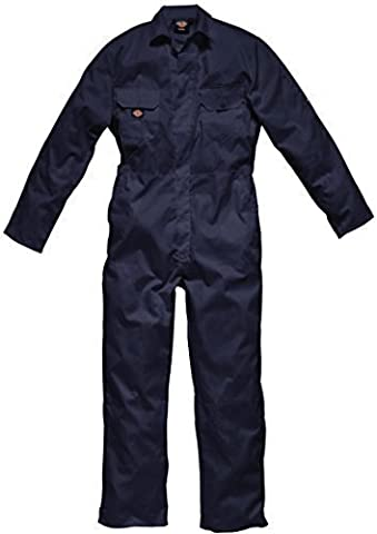 Dickies Coverall Overalls Boiler Suit Redhawk Stud Economy Mens Concealed Stud Front Two swing pockets Pen Pocket On Sleeve Two Chest Pockets With Studded Flaps One Back Patch Pocket Full Back Elasticated Waistband Hardwearing Functional Workwear WD4819 Navy L (44-46'' Chest)