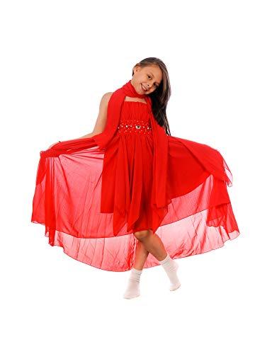 s Mädchen Kleid mit Stola Strass Perlen Strass Prinzessinnenkleid M533rt Rot 146 ()