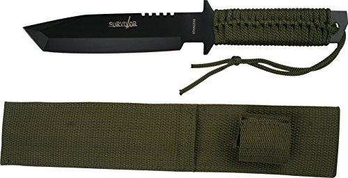 Survivor Outdoormesser, Gesamtlänge cm: 29,21, hell braung grün cord griff lanyard wrapped, SUVI-1208 (Cord Messer Wrapped)