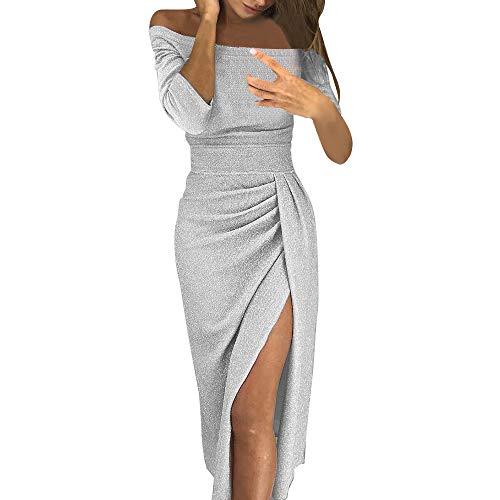 SEWORLD Karneval Damen Tasche Kleid mit offenem Kragen Hellen Kristall Kleid Abendkleid Frauen Weg Von Der Schulter Hohe Geschlitzte, Figurbetontes Kleid Langarm Kleider(Silber,EU-34/CN-M)