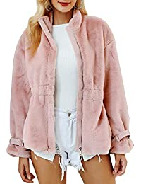 dc3afea4b5bccf MsLure Damen Winter Mantel Lang Pelz Reißverschluss Faux Fur Gefüttert Warm  Coat Kunstfell Jacke