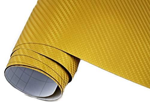 Neoxxim 4€/m² Auto Folie Carbon Folie 3D Carbonfolie Gold - 200 x 150 cm blasenfrei Klebefolie Dekor