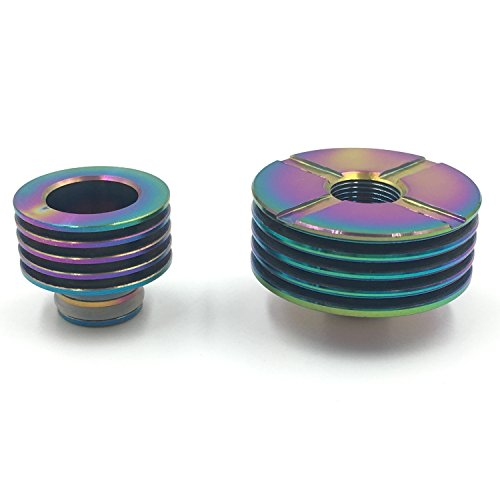 DIY-24H - Heat Sink 22mm Ø + Drip Tip Heat Sink 510er Anschluss für Verdampfer DripTip Atomizer Heatsink aus Edelstahl in Rainbow Regenbogen Farbe -