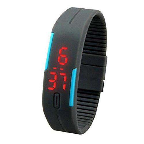 Culater® 2015 neu Frauen Herren Ultradünne Sport Silikon digital LED Armband Armbanduhr (grau)