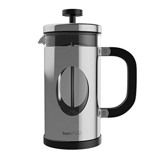 bonVIVO GAZETARO I Design-Kaffeebereiter Und French Press Coffee Maker In Silber-Optik, Kaffee-Kanne...