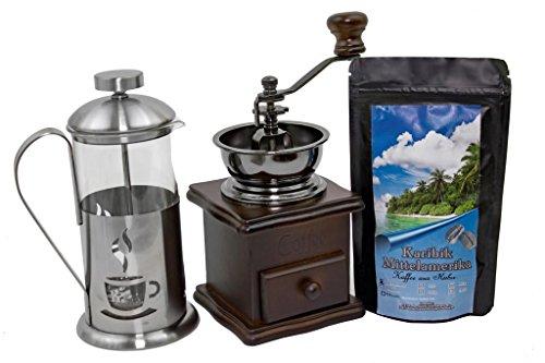 Kaffee Geschenk-Set Mittelamerika 250 g Länderkaffee aus Kuba Ganze Bohnen, Retro-Kaffeemühle und Stempelkanne 350 ml