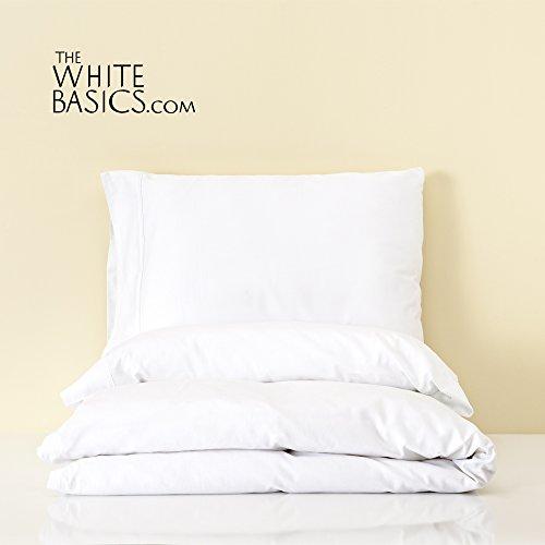 White Basics The Capri-Weißer Bettwäsche Satin 210Fadenzahl 100% gekämmte Baumwolle für Bettwäsche Bett 135/140 cm Weiß