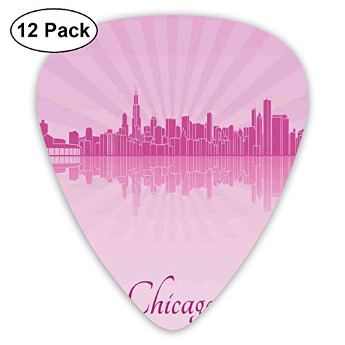 Guitar Picks - Abstract Art Colorful Designs,United States Scenery In Soft Tones Urban Downtown Illustration,Unique Guitar Gift,For Bass Electric & Acoustic Guitars-12 Pack (Ball State Halloween)