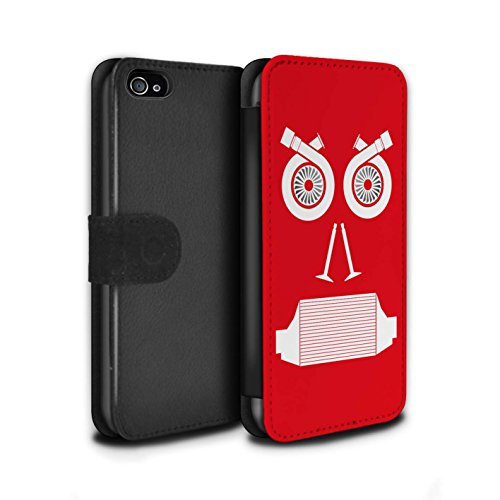 Stuff4 Coque/Etui/Housse Cuir PU Case/Cover pour Apple iPhone 4/4S / Pack 5pcs Design / Visages Pièce Voiture Collection Turbo/Rouge