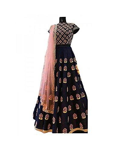 Hmp Fashion Women\'s Cotton Silk Dress Material Lehenga Choli (Ds 534 Blue Lehenga_Blue_Free Size)