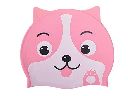 ranraner Kid Badekappe, Fun Lovely Puppy Hund Form Cartoon Design für Jungen und Mädchen im Alter von 2–9, wasserdicht Ohrenschützer Silikon-Badekappe M Rose