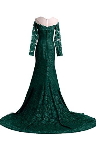 ivyd ressing Femme élégant long manche pointe traîne Party robe Prom Lave-vaisselle robe robe de bal robe du soir Vert foncé