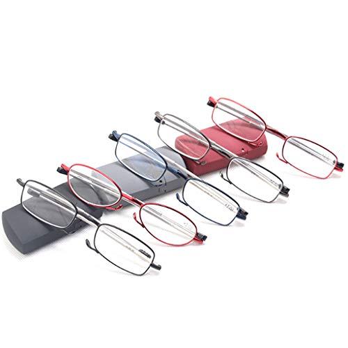 HAOHAOWU Antenne Faltbare Lesebrille, Anti-Blaulicht Komfortable High-Definition-Metall-Presbyopie-Brille Einfache Tragbare Premium-Objektive Für Männer/Frauen,5pack,+4.00