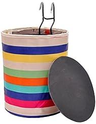 Multicolor lona cesta de bicicleta frontal plegable cesta portátil para montar y llevar