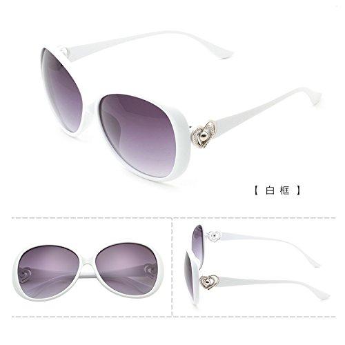 rundes gesicht, koreanische persönlichkeit, star - brillen, sonnenbrillen, frauen flut sonnenbrille, damen retro - augen, neue runde,(weiße) weiße box (bag) (Runde, Sonnenbrille Weiße)