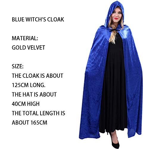 qys Halloween-Umhang Cosplay Weihnachtskostüm Langer Mantel des Todes Zauberer Hexe Prinz Prinzessin Umhang(Blue,165cm)