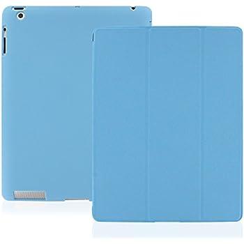 KHOMO Coque Apple iPad 2, 3, 4 Retina - Etui Housse Trés Fin et Leger avec Rabat Magnétique et Mise en Veille Automatique iPad 4 - Bleu