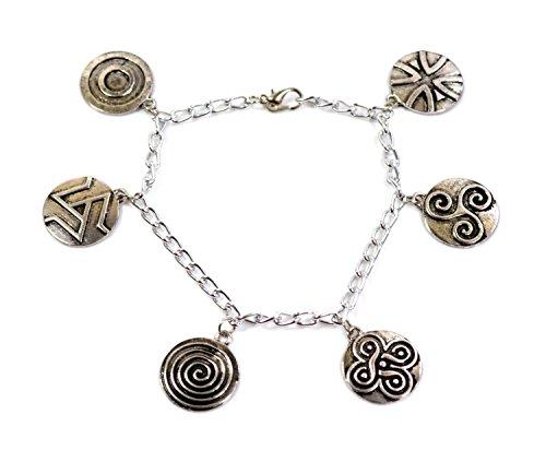 Teen-Wolf-Charm-Armband-Antikes Silber, Druidensymbol-Charms-Scott McCal und Derek Hale
