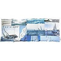 Körnerkissen Hirse Wärmekissen Hirsekissen Segeln weiß/beige/blau 100% Baumwolle 200g/qm 50x20 mit Schutzengel Schlüsselanhänger