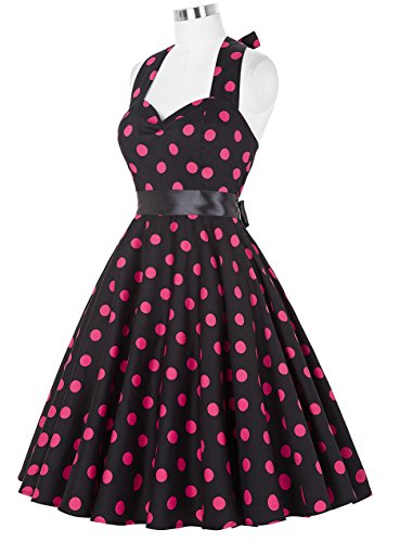 GRACE KARIN Retrò Chic Stile Halter Vintage 1950 Audrey Hepburn Vestito Donne Vintage al collo di Polka Dots Casual Cocktail Vestito 5#
