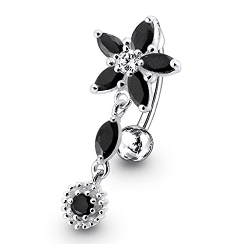 Black Crystal Stein trendigen Flower Design Sterling Silber Bauch Bars Piercing (Black Ring Flower Cubic)