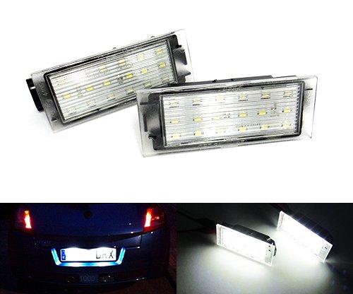 2x Renault LED Lizenz Kennzeichenbeleuchtung Weiß 06+ Clio Espace Laguna Logan Megane Twingo Wind VEL SATIS Luffy