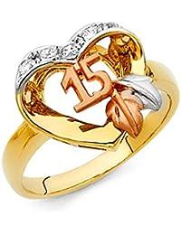 Quinceañera 14 K maciza de Tri-color oro corazón cúbico zirconia anillo